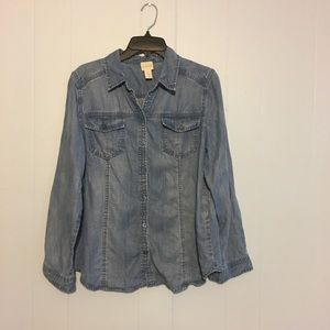 Chico's denim button up top